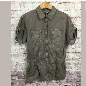 BCBG Maxazria Large Army Green Short Sleeve Jacket